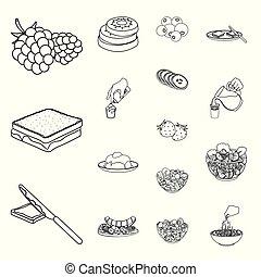 sobremesa, perfumado, esboço, ícones, em, jogo, cobrança,...