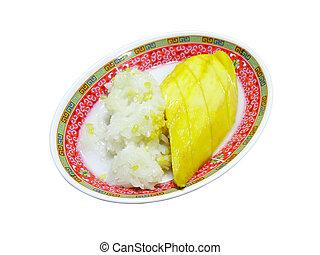 sobremesa, tailandês, arroz, pegajoso, manga