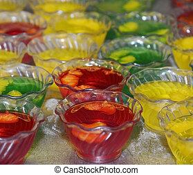 sobremesas, jello, tigelas, plástico
