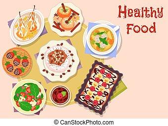 sobremesas, menu, almoço, fruta, desenho, ícone