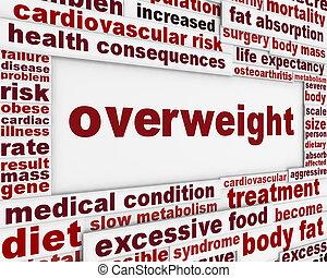 sobrepeso, médico, advertencia, mensaje, plano de fondo