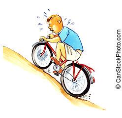 sobrepeso, niño, en, bicicleta