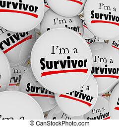 sobrevivente, botões, determinação, alfinetes, sou, ...