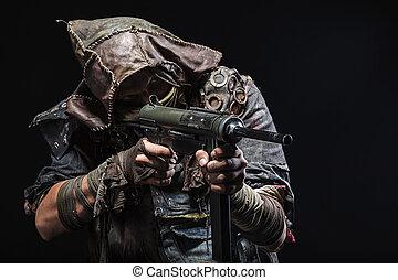 sobrevivente, com, caseiro, armas