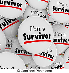 sobreviviente, botones, determinación, alfileres, soy, perseverence