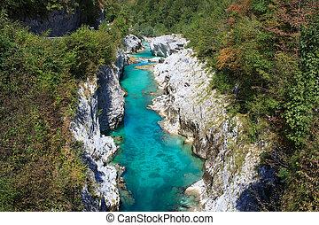View of Soca river in Slovenia, Europe