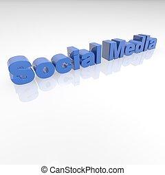 Socail Media 3D text -
