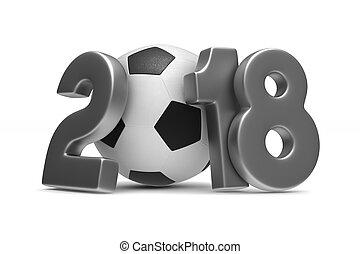 Soccer 2018 on white background. Isolated 3D illustration