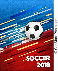 Soccer 2018 sport game event poster with ball