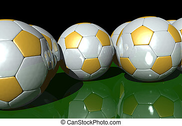 Soccer - 3d rendering of white and gold soccerballs