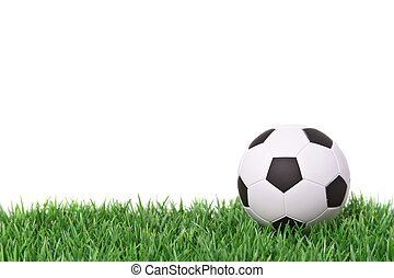 A fine green meadow with a soccer ball on it. All on white background.