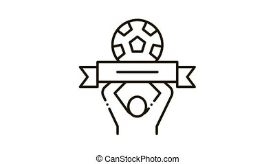 Soccer Above All Icon Animation. black Soccer Above All animated icon on white background