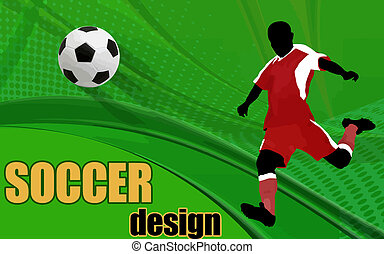 Soccer Action player. Abstract Classical football poster, vector illustration