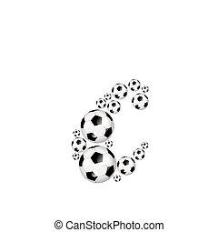 Soccer alphabet lowercase letter c