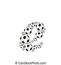 Soccer alphabet lowercase letter e