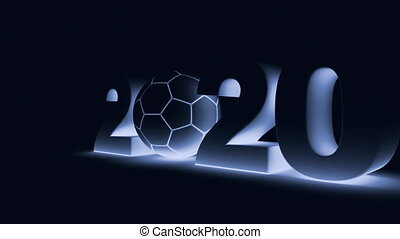 soccer and 2020 - soccer ball and volumetric inscription...