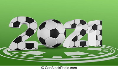 soccer ball and volumetric inscription 2021. 3d render.