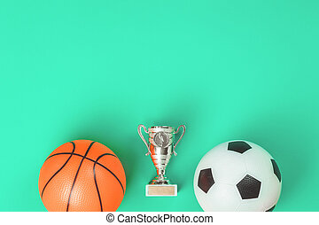Soccer and basketball concept with balls and cup