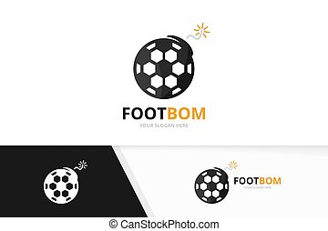 Soccer and bomb logo combination. Ball and detonate symbol or icon. Unique football and weapon logotype design template.