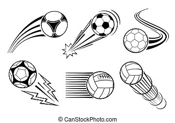 Soccer and football balls for labels emblems. Vector elements set