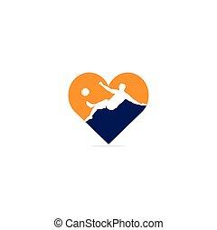 Soccer and Football Player Man Heart Shape Logo Vector Design.