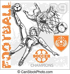 Soccer and football players plus emblems for sport team - ...