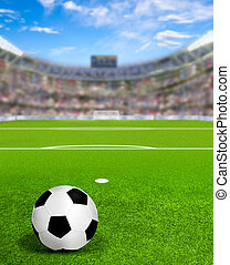 Soccer Arena With Ball on field and Copy Space