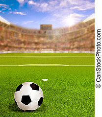 Soccer Arena With Sun Flare and Ball on Field
