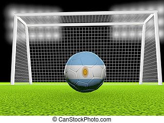 Soccer Argentina - Argentina flag over soccer ball, in front...