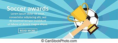 Soccer awards banner horizontal concept. Flat illustration...