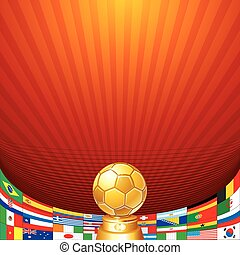 Soccer Background. Cup with Flag of National Teams