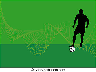 Vector background with a silhouette of a soccer player with football