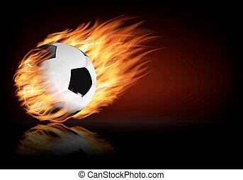 Soccer background with a flaming ball. V