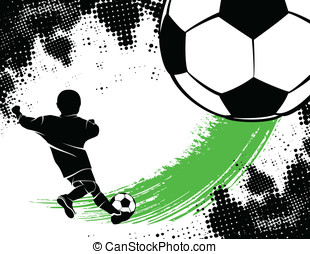 Soccer Background With Boy Shooting - Soccer background...