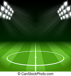 Soccer Background with Bright Spot Lights - Soccer...