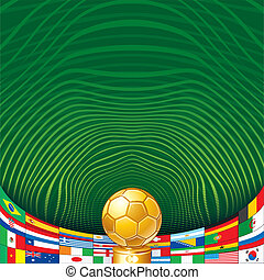 Soccer Background with Golden Cup and Flags.