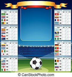 Soccer Background with World Cup Table. Vector Set