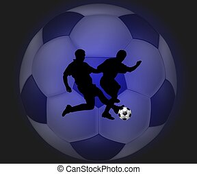 Soccer background x-ray style blue