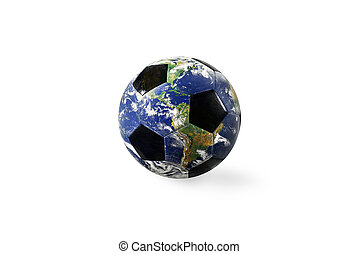 Soccer ball a as world. Earth provided by NASA. Isolated on white background