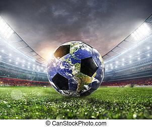Soccer ball a as world. Earth provided by NASA.