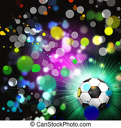 Soccer ball abstract lights background