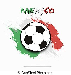 Soccer ball against the background of the Mexico flag