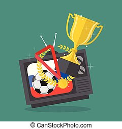 Soccer ball and awards on television with russia flag background