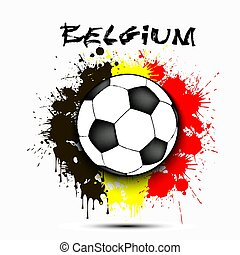 Soccer ball against the background of the Belgium flag of paint blots. Vector illustration