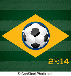 Soccer ball and brasil flag