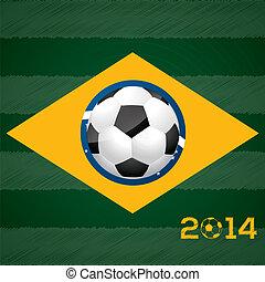 Soccer ball and brasil flag