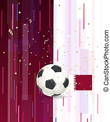 Soccer ball and confetti on abstract background