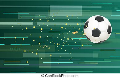 Soccer ball and confetti on abstract green background