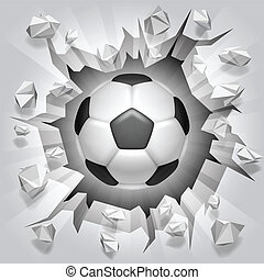 Soccer ball and cracked wall. - Soccer ball flying through...