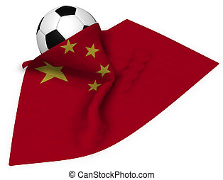 soccer ball and flag of china - 3d rendering
